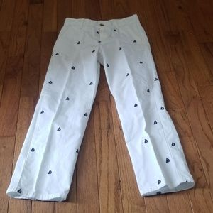 Janie and jack boys white navy sailboat pants 7